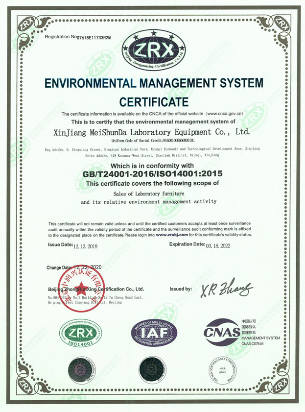 美顺达环境管理体系认证证书英文版